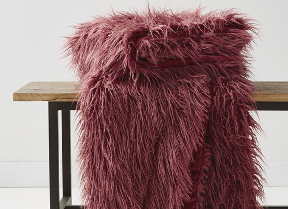 Essenza Home Fake Fur sierkussen Yeti mauve