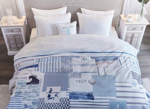 Riviera Maison dekbedovertrek Sylt Beach blue