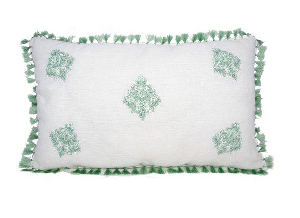 Flamant sierkussen Linen Tassel jade