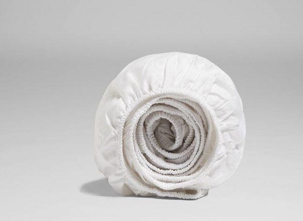 Yumeko hoeslaken katoen satijn pure white