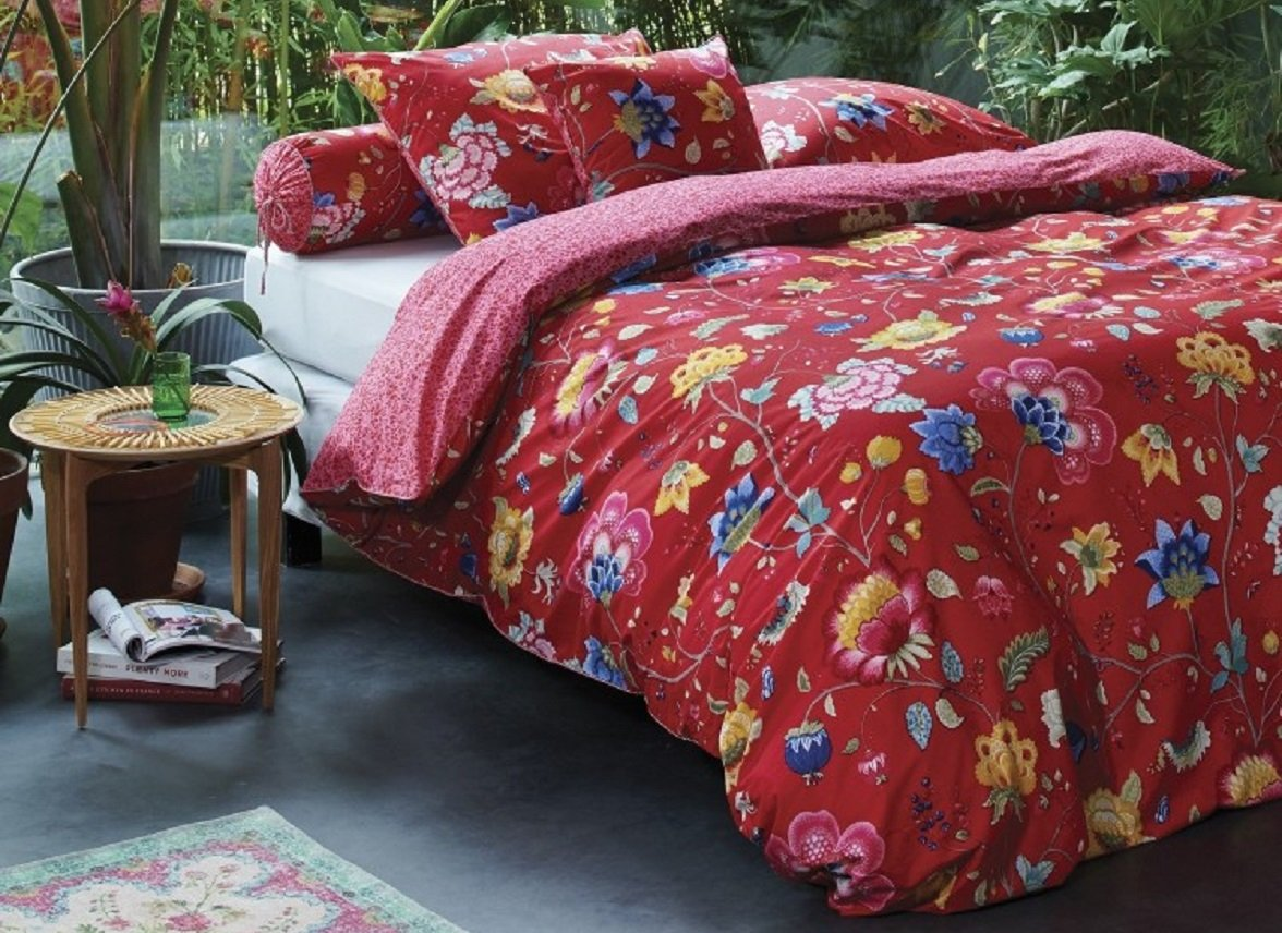 Pip Studio dekbedovertrek Floral Fantasy red