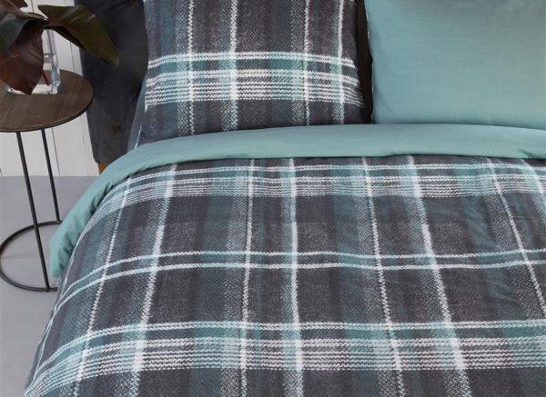 Riviera Maison dekbedovertrek flanel Tartan Tweed Blue