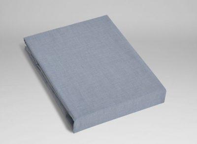 Yumeko hoeslaken katoen Tencel blue chambray